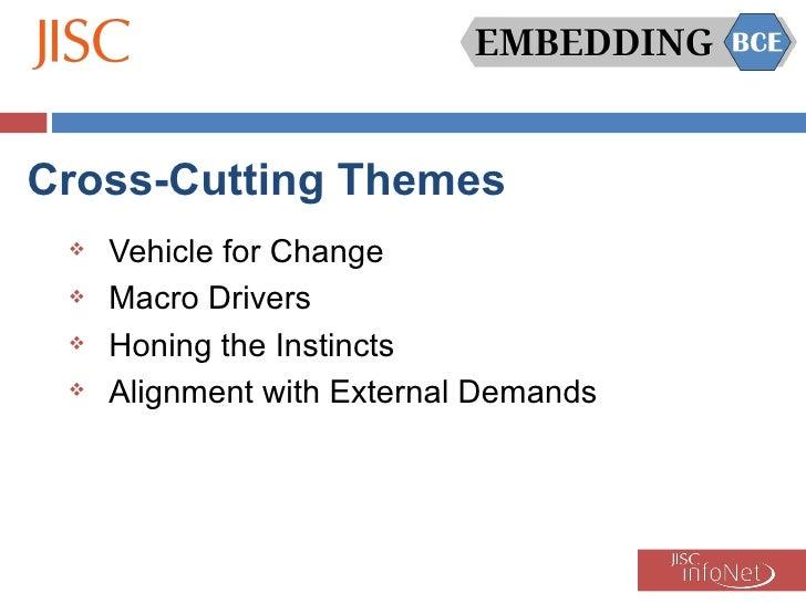 Cross-Cutting Themes <ul><li>Vehicle for Change </li></ul><ul><li>Macro Drivers </li></ul><ul><li>Honing the Instincts </l...