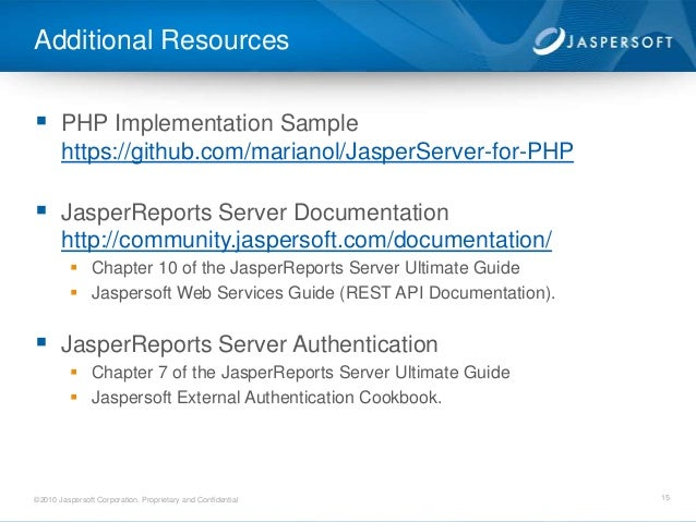 Embedding Jaspersoft into your PHP application