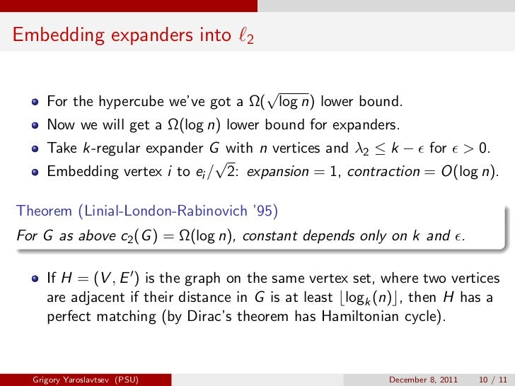 Embedding expanders into            2                                     √     For the hypercube we've got a Ω( log n) lo...
