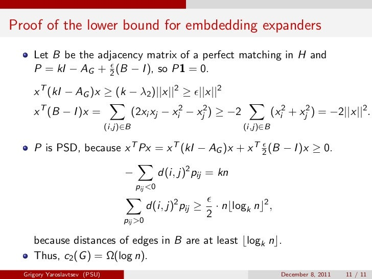 Proof of the lower bound for embdedding expanders     Let B be the adjacency matrix of a perfect matching in H and     P =...