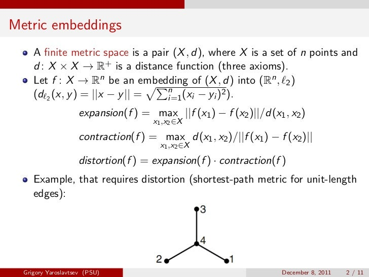 Metric embeddings     A finite metric space is a pair (X , d), where X is a set of n points and     d : X × X → R+ is a dis...