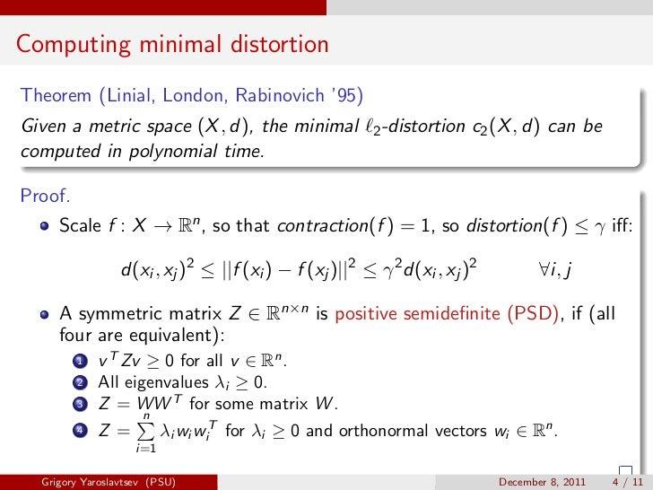 Computing minimal distortionTheorem (Linial, London, Rabinovich '95)Given a metric space (X , d), the minimal             ...