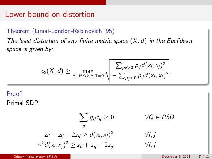 Lower bound on distortionTheorem (Linial-London-Rabinovich '95)The least distortion of any finite metric space (X , d) in t...