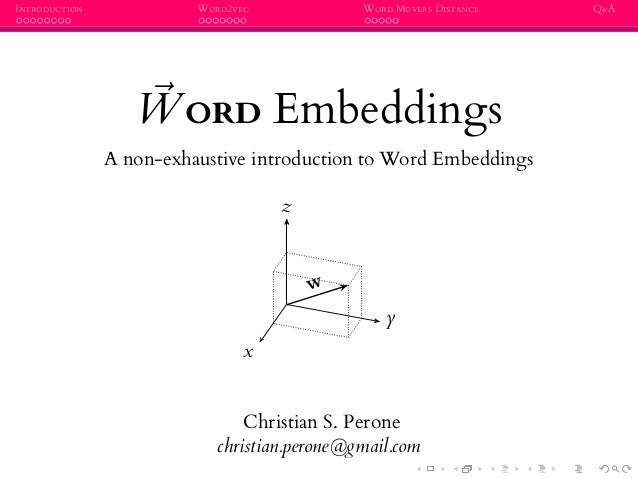 INTRODUCTION WORD2VEC WORD MOVERS DISTANCE Q&A WORD Embeddings A non-exhaustive introduction to Word Embeddings x y z w Ch...