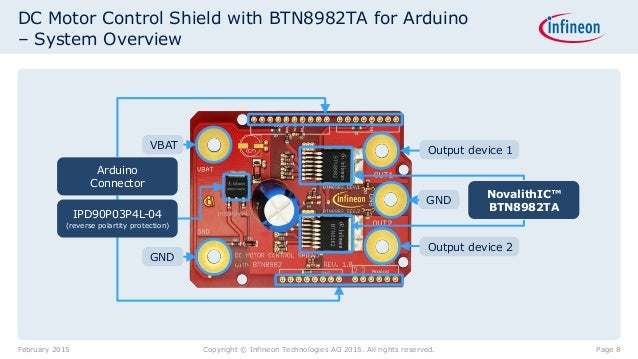Arduino DC Motor Control Shield with BTN8982