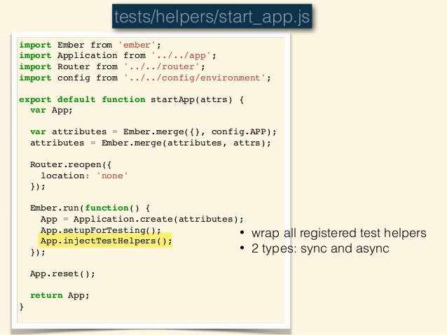 injectTestHelpers • sets up all existing registered test helpers, including built-ins (find, visit, click, etc) on `window`...