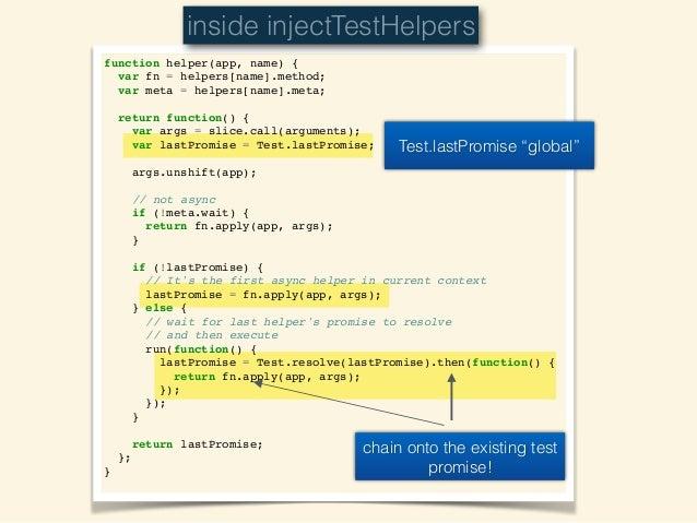 Timeline Test.lastPromise Code visit('/posts'); fillIn('input'); click('.submit'); .then .then .then visit('/posts'); fillIn...