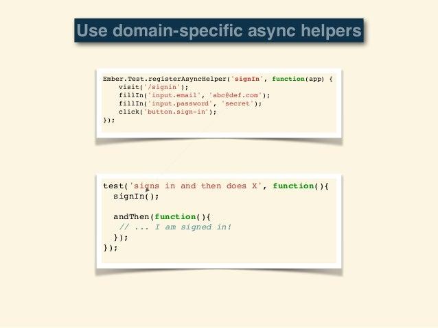 Ember.Test.registerHelper('navbarContains', function(app, text) {! ! var el = find('.nav-bar:contains(' + text + ')');! ! ...