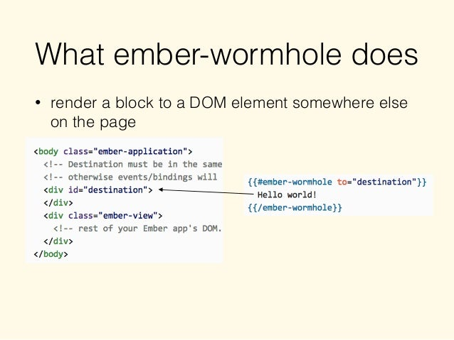 What ember-wormhole does • render a block to a DOM element somewhere else on the page