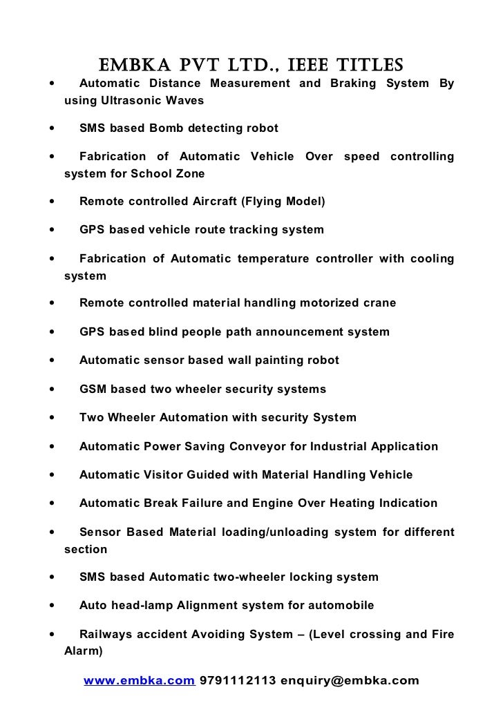 Embka Embedded Project Titles Embedded Electronics