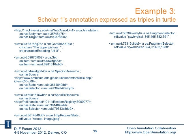 Example 3:                Scholar 1's annotation expressed as triples in turtle<http://myUniversity.edu/myWeb/Anno4.4.4> a...