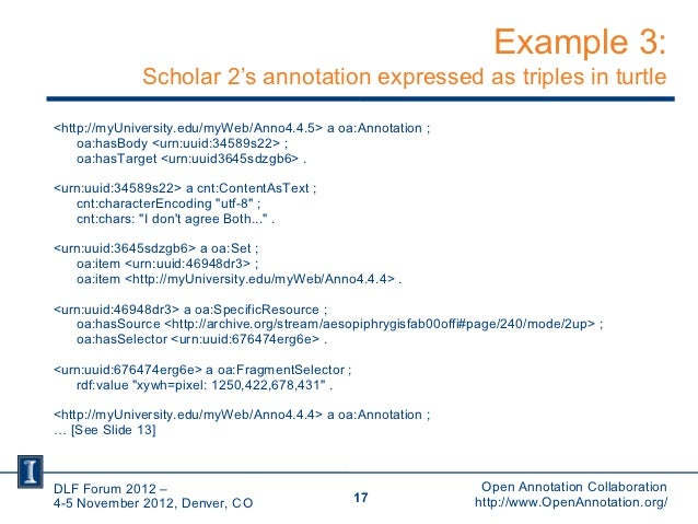 Example 3:             Scholar 2's annotation expressed as triples in turtle<http://myUniversity.edu/myWeb/Anno4.4.5> a oa...