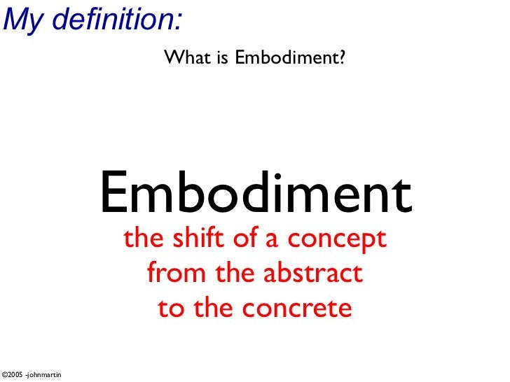My definition:                        What is Embodiment?                         Embodiment                     the shift...