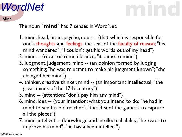 "WordNet  Mind                                                                  mind               The noun ""mind"" has 7 se..."