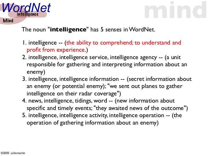 "WordNet  Mind            intelligence                                         mind               The noun ""intelligence"" h..."