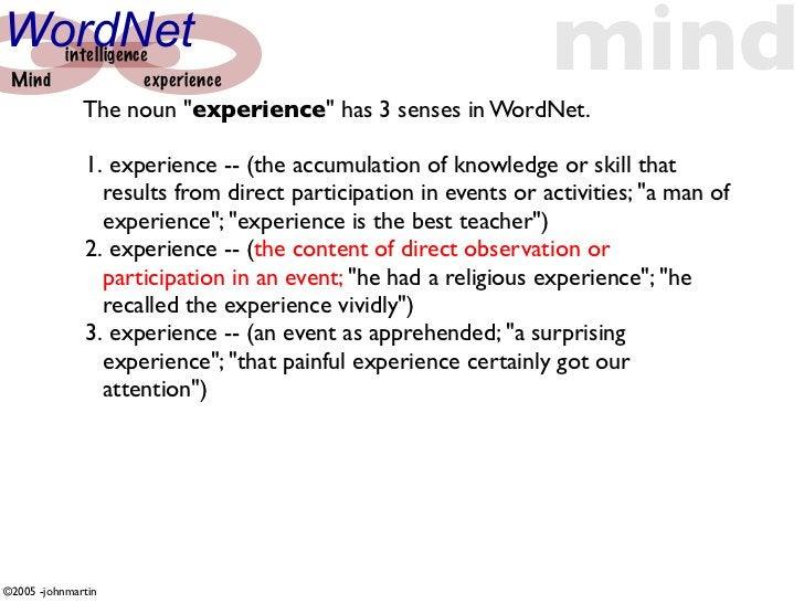 "WordNet  Mind       intelligence                  experience               The noun ""experience"" has 3 senses in WordNet. ..."