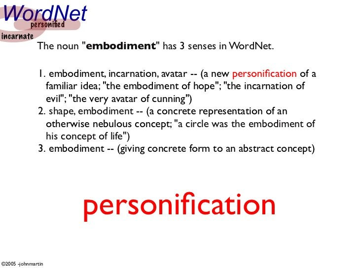 "WordNet personified incarnate               The noun ""embodiment"" has 3 senses in WordNet.                1. embodiment, in..."