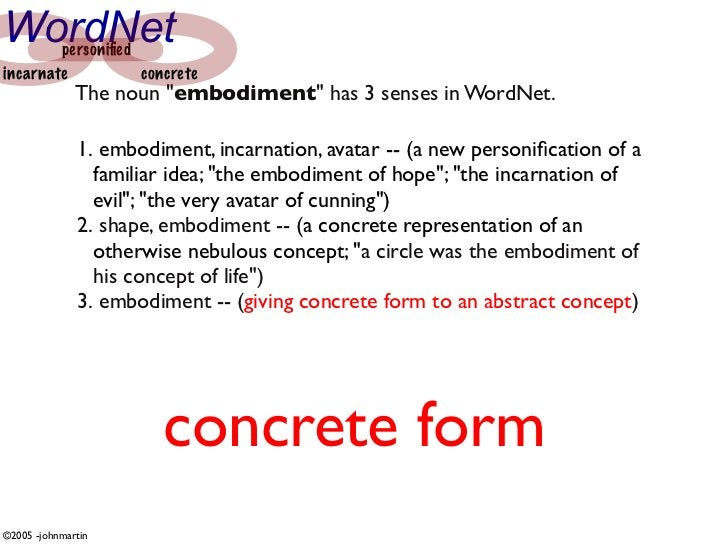 "WordNet personified incarnate          concrete               The noun ""embodiment"" has 3 senses in WordNet.               ..."