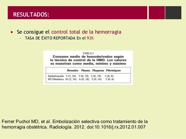 RESULTADOS: • Se consigue el control total de la hemorragia – TASA DE ÉXITO REPORTADA En el 93% Ferrer Puchol MD, et al. E...
