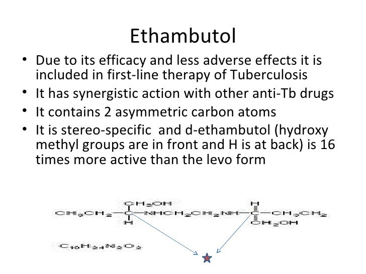 Ethambutol• Due to its efficacy and less adverse effects it is  included in first-line therapy of Tuberculosis• It has syn...