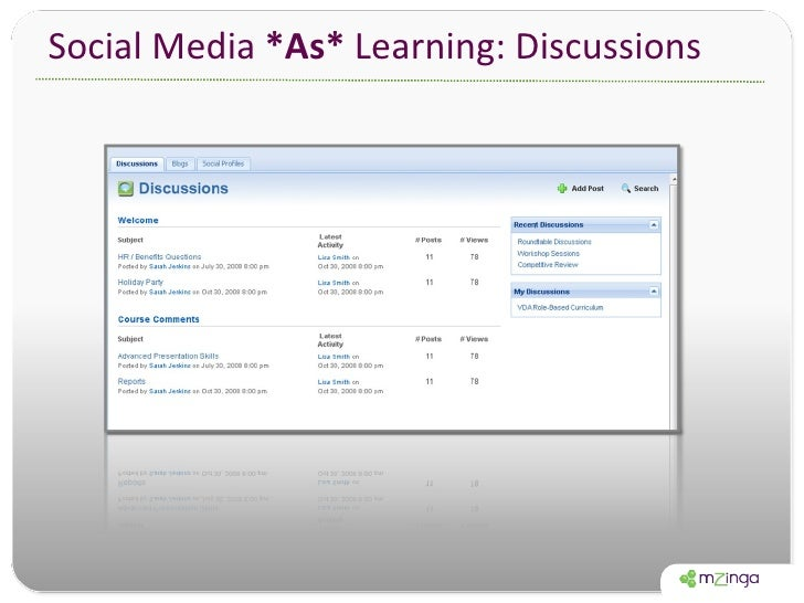 Social Media  *As*  Learning: Discussions