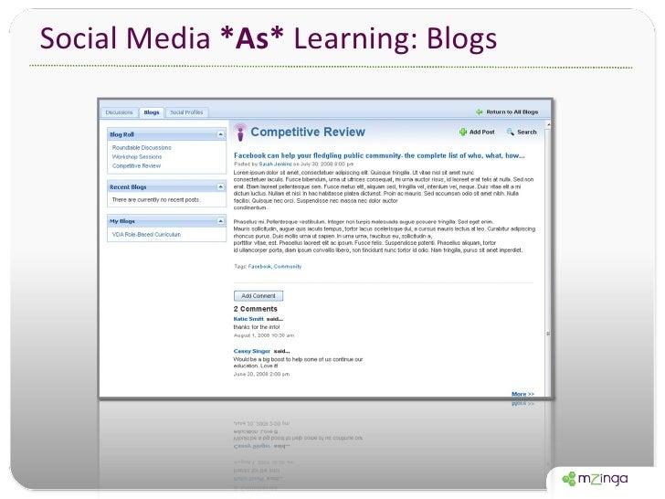 Social Media  *As*  Learning: Blogs