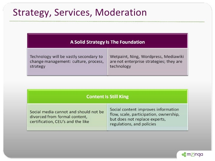 Strategy, Services, Moderation