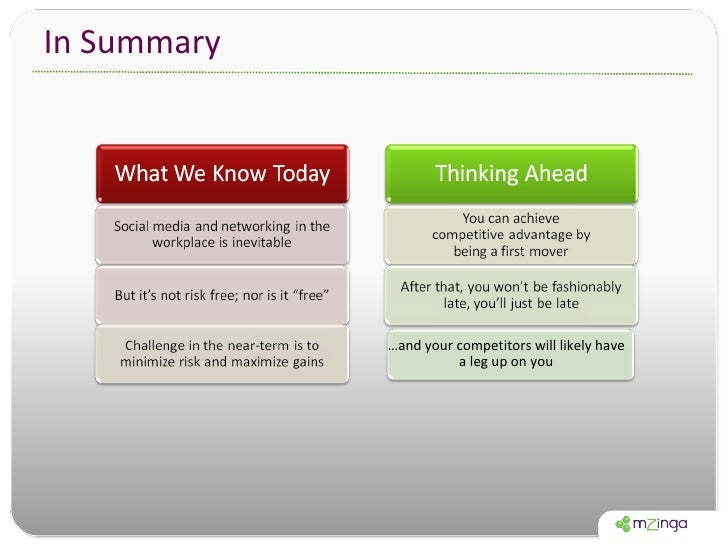 In Summary … and your competitors will likely have a leg up on you
