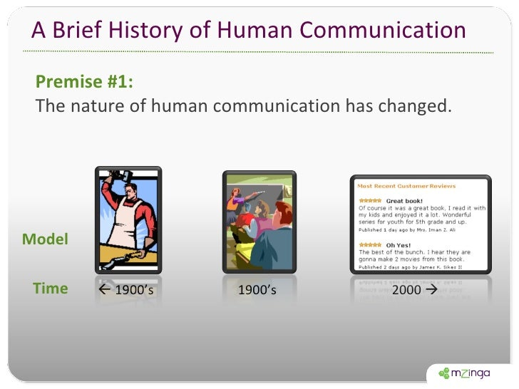 A Brief History of Human Communication Model Time 1 : 1 Many : Many 1900's    1900's 2000   Premise #1:  The nature of h...