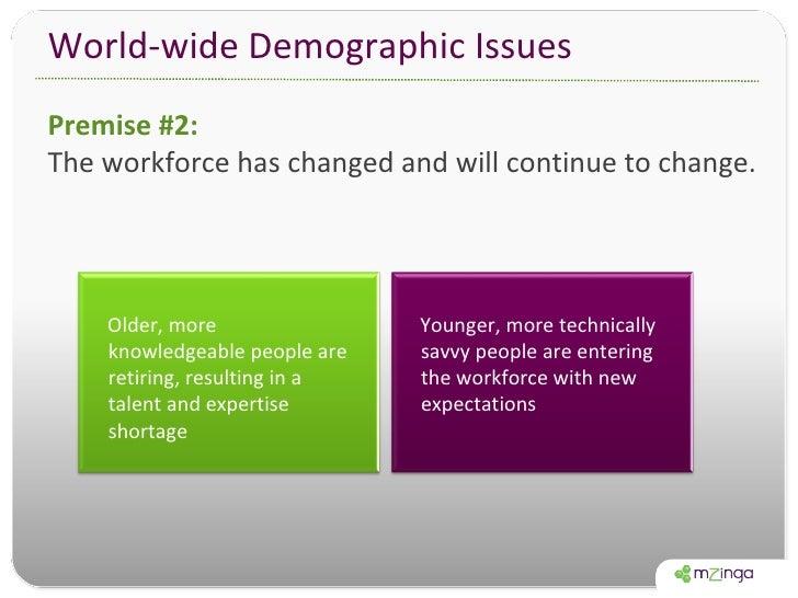 World-wide Demographic Issues <ul><li>Premise #2:  </li></ul><ul><li>The workforce has changed and will continue to change...