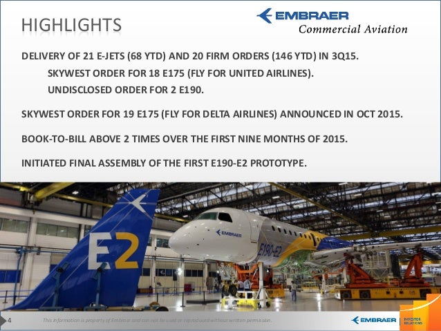 This information is property of Embraer and can not be used or reproduced without written permission.4 DELIVERY OF 21 E-JE...