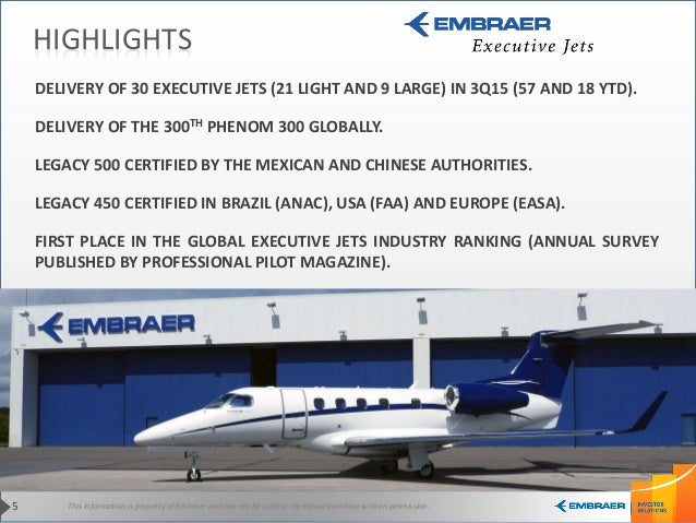 This information is property of Embraer and can not be used or reproduced without written permission.5 HIGHLIGHTS DELIVERY...