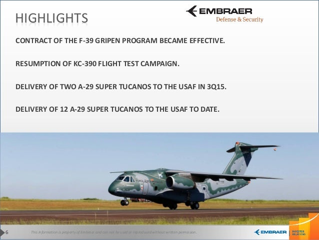 This information is property of Embraer and can not be used or reproduced without written permission.6 HIGHLIGHTS CONTRACT...