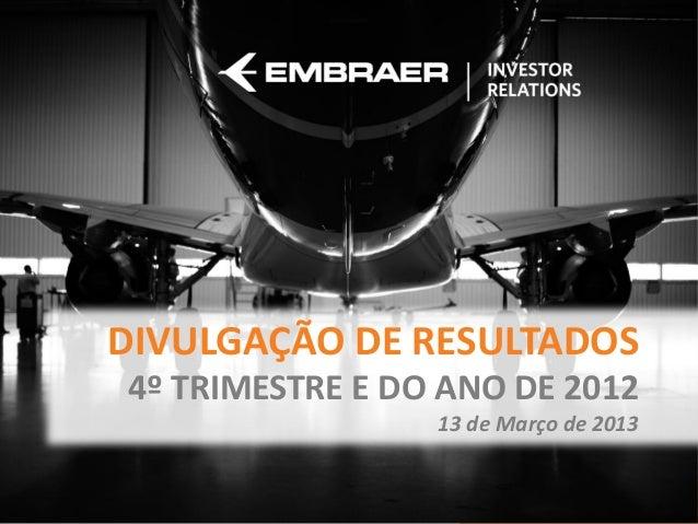 DIVULGAÇÃO DE RESULTADOS4º TRIMESTRE E DO ANO DE 2012                 13 de Março de 2013