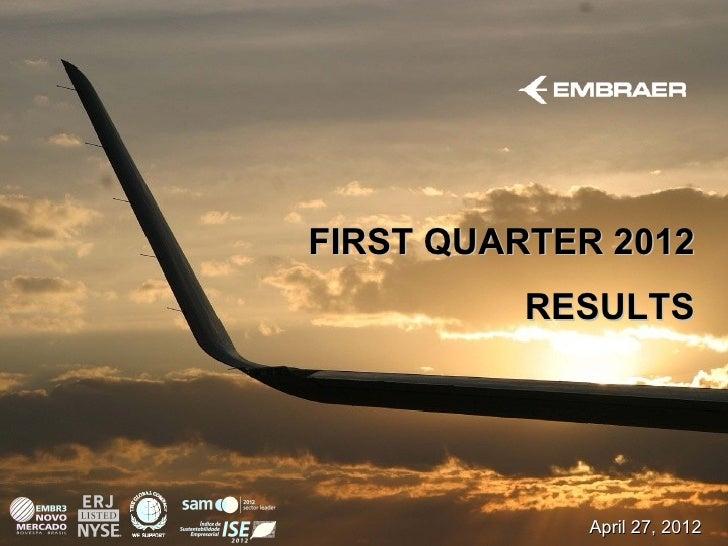 FIRST QUARTER 2012          RESULTS             April 27, 2012