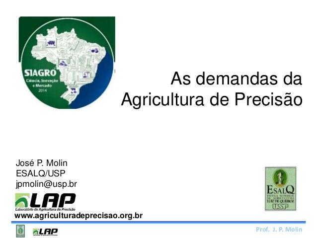 As demandas da  Agricultura de Precisão  Prof. J. P. Molin  José P. Molin  ESALQ/USP  jpmolin@usp.br  www.agriculturadepre...