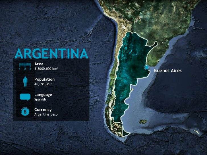 ARGENTINA Area 3,8000,000 km² Population 40,091,359 Language Spanish Currency Argentine peso Buenos Aires