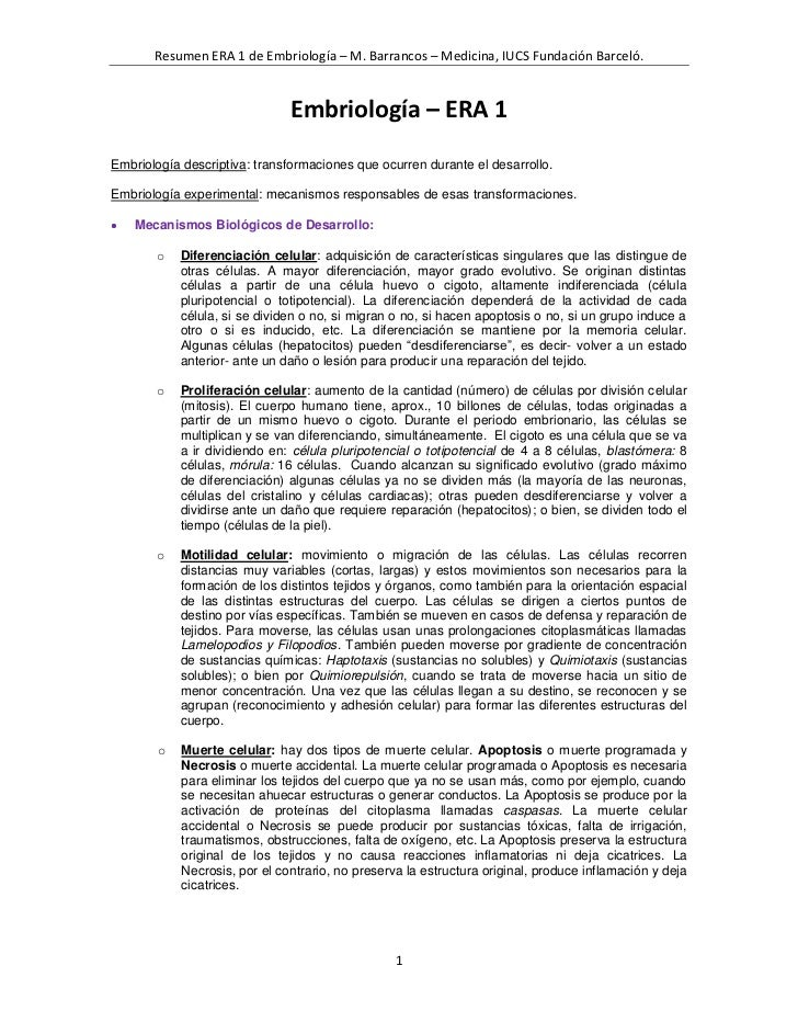 Resumen ERA 1 de Embriología – M. Barrancos – Medicina, IUCS Fundación Barceló.                               Embriología ...