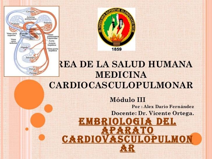 ÁREA DE LA SALUD HUMANA MEDICINA CARDIOCASCULOPULMONAR Módulo III Por : Alex Darío Fernández Docente: Dr. Vicente Ortega. ...