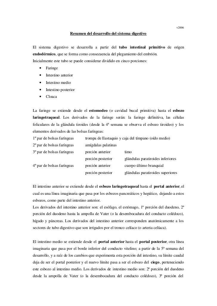 v2006                        Resumen del desarrollo del sistema digestivoEl sistema digestivo se desarrolla a partir del t...