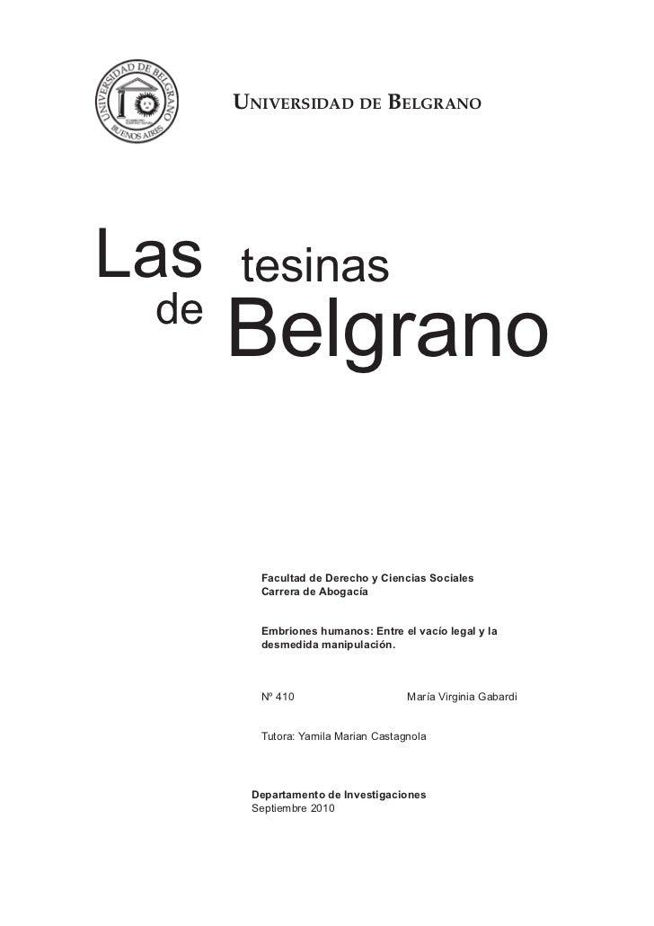 Universidad de BelgranoLas   tesinas de      Belgrano        Facultad de Derecho y Ciencias Sociales        Carrera de Abo...