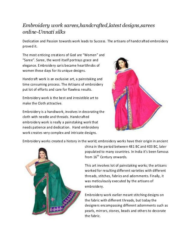 Embroidery work sarees,handcrafted,latest designs,sarees online-Unnati silks Dedication and Passion towards work leads to ...