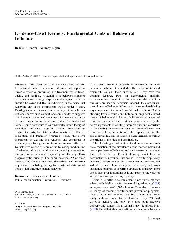Clin Child Fam Psychol Rev DOI 10.1007/s10567-008-0036-x     Evidence-based Kernels: Fundamental Units of Behavioral Influe...