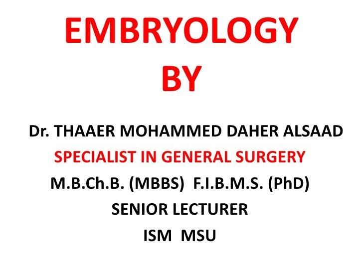 EMBRYOLOGY        BY Dr. THAAER MOHAMMED DAHER ALSAAD     SPECIALIST IN GENERAL SURGERY    M.B.Ch.B. (MBBS) F.I.B.M.S. (Ph...