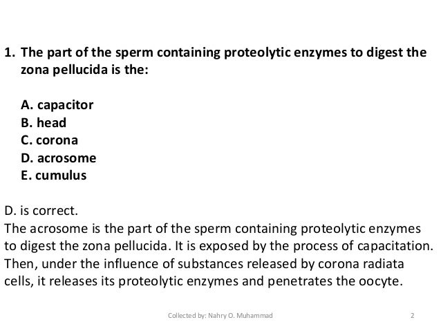 Embryology practice questions with answers