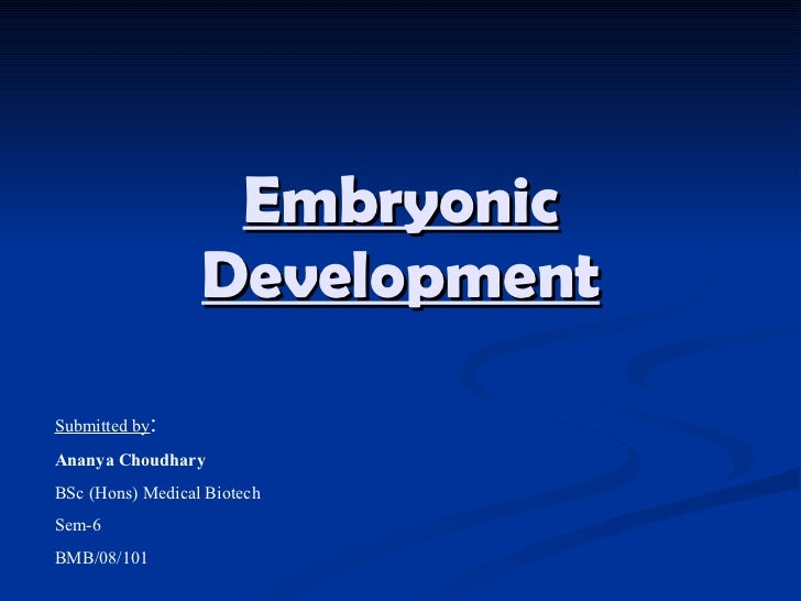 Embryonic Development Submitted by : Ananya Choudhary BSc (Hons) Medical Biotech Sem-6 BMB/08/101