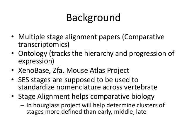 Background • Multiple stage alignment papers (Comparative transcriptomics) • Ontology (tracks the hierarchy and progressio...