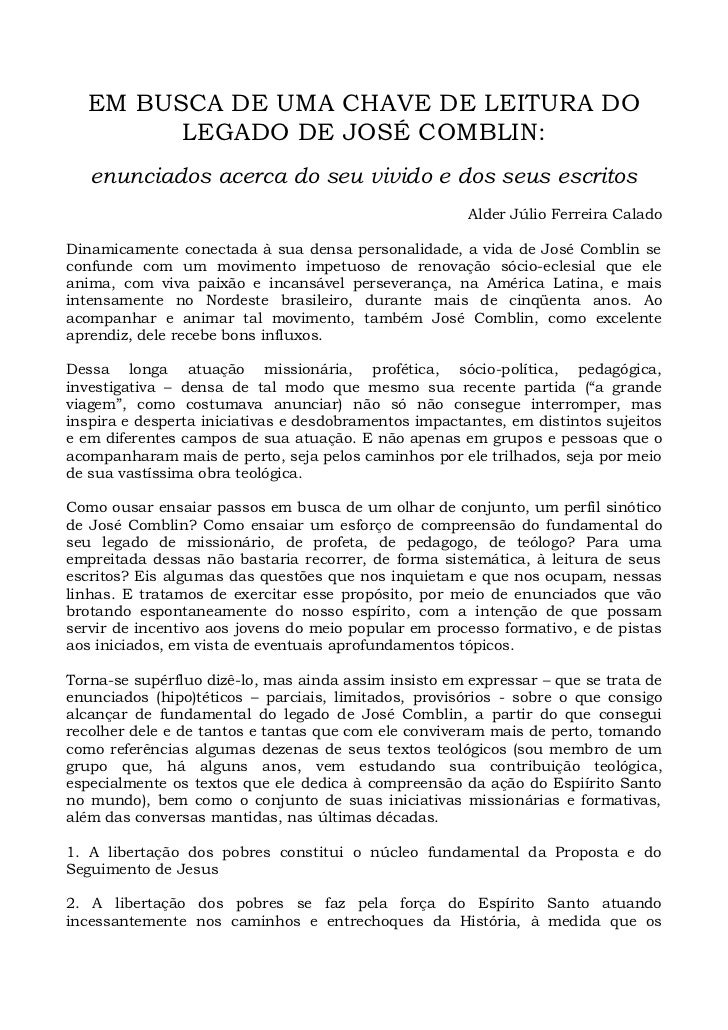 EM BUSCA DE UMA CHAVE DE LEITURA DO        LEGADO DE JOSÉ COMBLIN:   enunciados acerca do seu vivido e dos seus escritos  ...