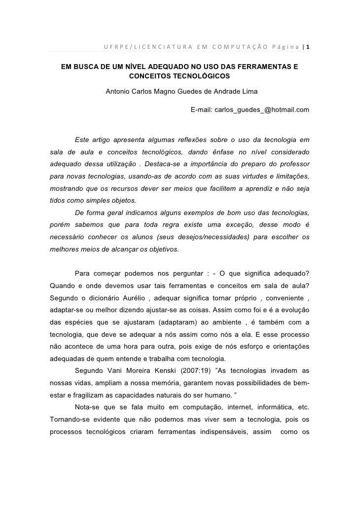 UFRPE/LICENCIATURA EM COMPUTAÇÃO Página  1      EM BUSCA DE UM NÍVEL ADEQUADO NO USO DAS FERRAMENTAS E                    ...