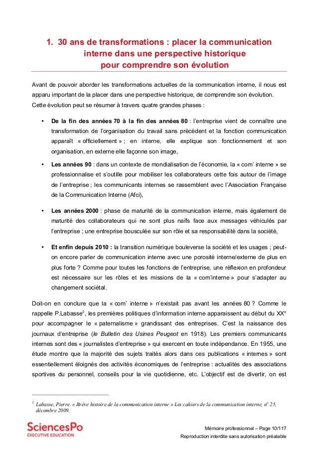Mémoire professionnel – Page 10/117 Reproduction interdite sans autorisation préalable 1. 30 ans de transformations : plac...